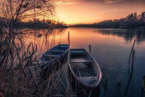 Бесплатные фото Йоркшир,Канада,закат,озеро,лодка,деревья,пейзаж