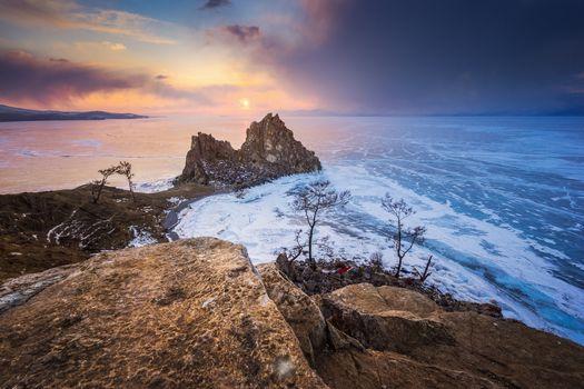 Photo free Shamanka rock at Khuzhir, on Olkhon island, lake Baikal