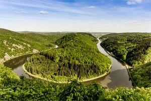 Обои Saarschleife, река Саар, Метлах, Оршхольц, Германия, пейзаж