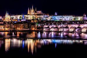 Бесплатные фото Чешская Республика,Прага,Чехия,Река Влтава,ночь