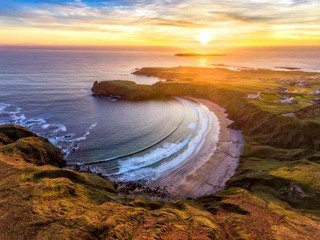 Бесплатные фото Серебряный берег Подкова,Beach Malin Beg,Донегал,закат,море,берег,пейзаж