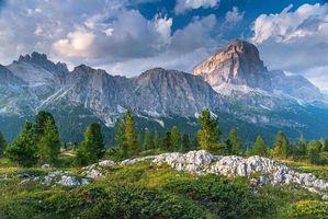 Бесплатные фото Доломиты, Италия, горы, деревья, скалы, небо, обляка