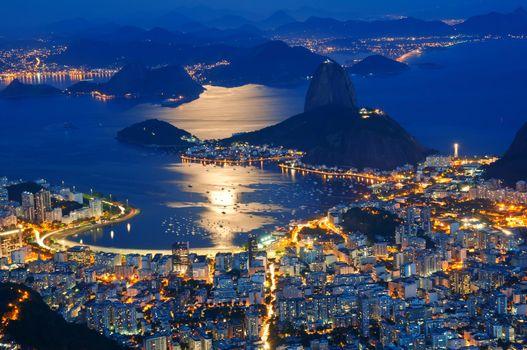 Фото бесплатно Рио-де-Жанейро, Бразилия, ночь