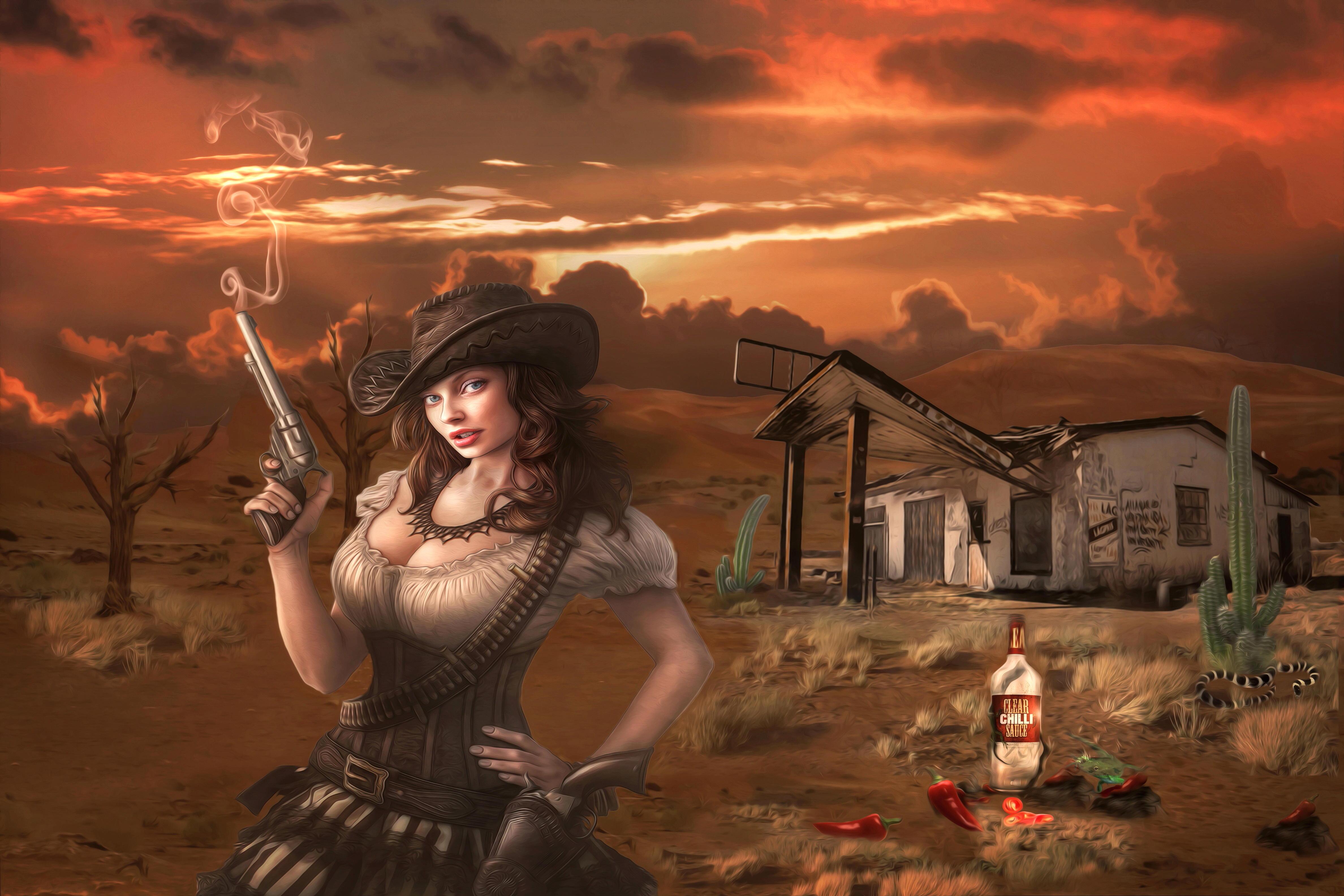 Обои девушка ковбой, art
