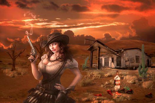 Бесплатные фото девушка ковбой,art