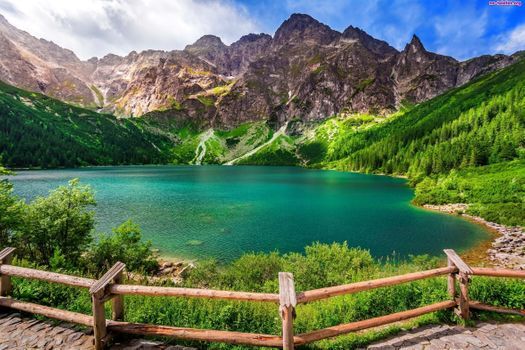 Фото бесплатно озеро, горы, забор