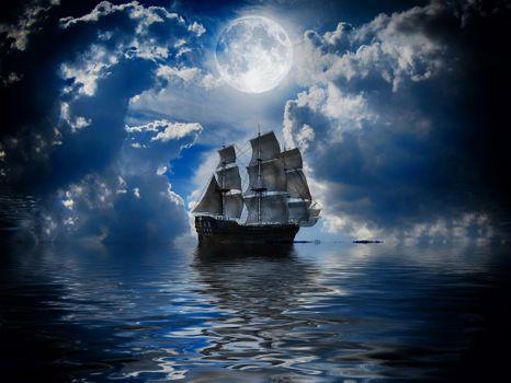 Photo free sea, clouds, ship