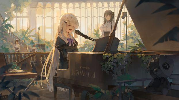 Заставки нуар, фортепиано, поющий