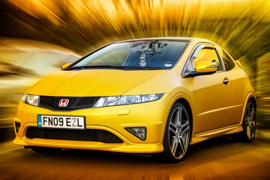Photo free Honda Civic Type R, yellow, car