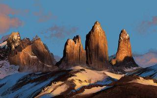 Фото бесплатно пейзаж, чертеж, горы