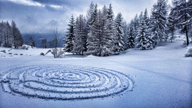 Заставки зима, снег, круги