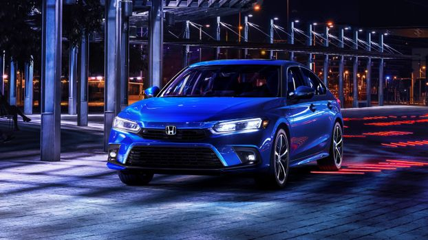 Photo free neon lights, Honda Civic Sedan 2022, blue