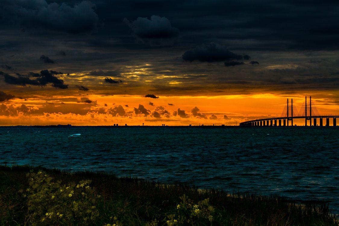 Фото бесплатно мост, пруд, закат, облака, bridge, pond, sunset, clouds, пейзажи