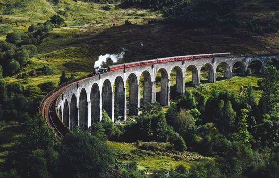 Фото бесплатно поезд, природа, пейзаж