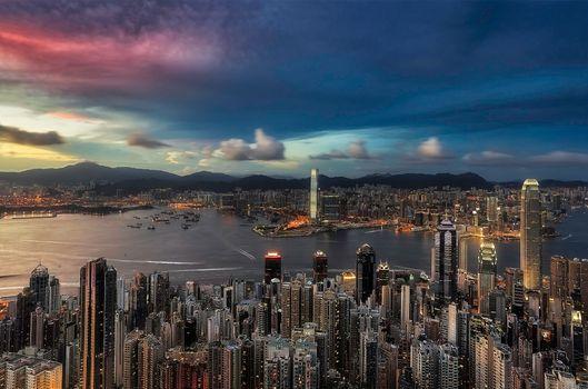 Фото бесплатно Гонконг, Китай, закат