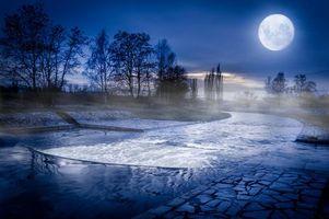 Фото бесплатно ночь, луна, река