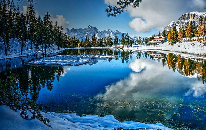 Фото озёрные альпы зимние деревья итальянское озеро - бесплатные картинки на Fonwall