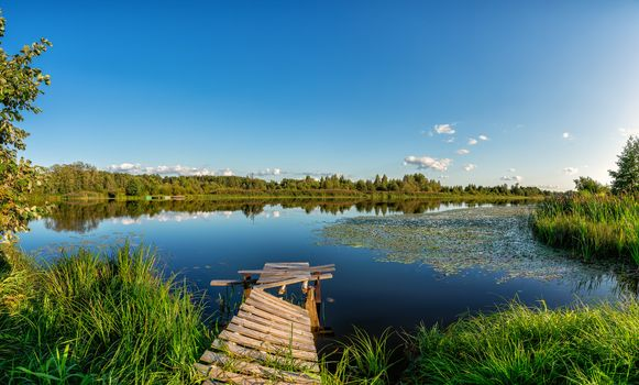 Photo free dock, summer, forest
