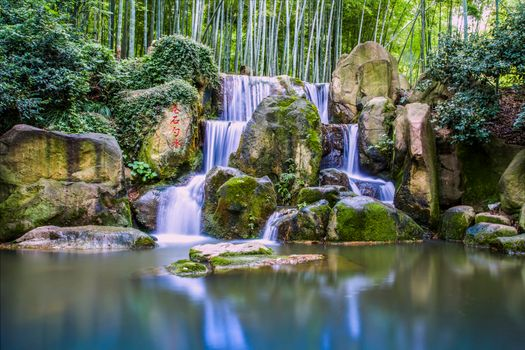 Photo free waterfall, rocks, bamboo