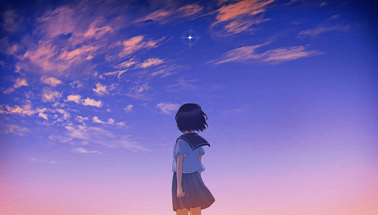 Обои аниме школа девушки, закат, живописный картинки на телефон