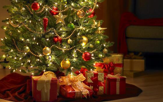Фото бесплатно елка, шарики, украшения
