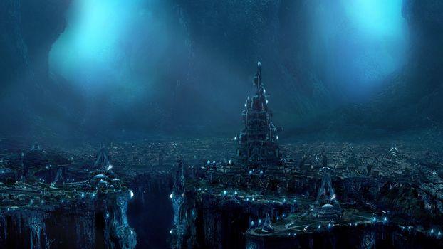 Фото бесплатно город, фэнтези, футуристический, пещера, научная фантастика, произведения искусства