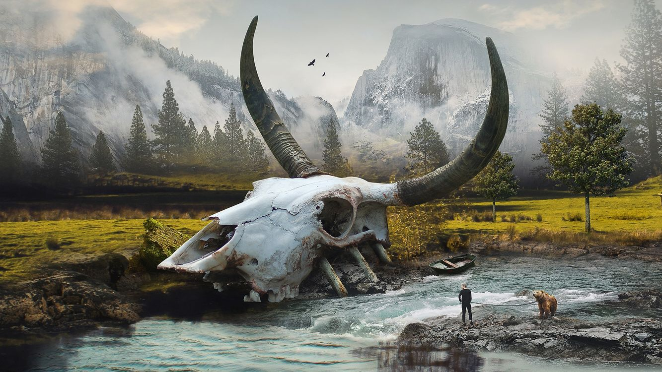 Фото бесплатно река, череп буйвола, медведь, парень, горы, фантастика, фантастика