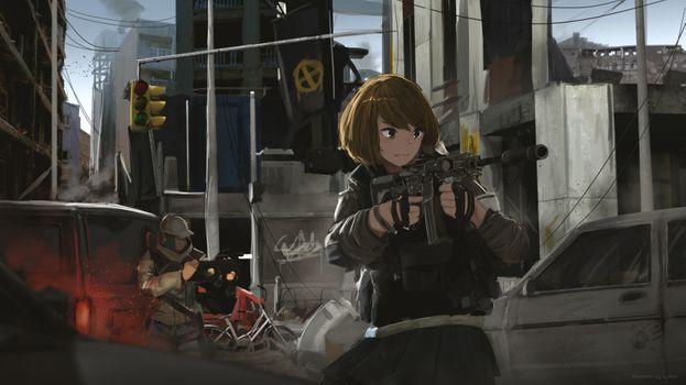 Заставки аниме девушка, короткие волосы, пушки