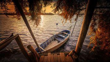 Заставки закат, река, лодка
