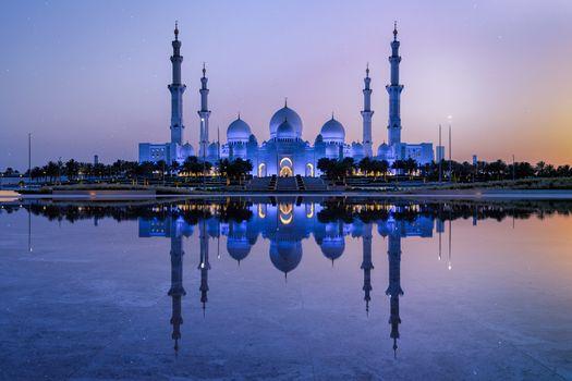 Заставки Sheikh Zayed Mosque, Abu Dhabi, ночь
