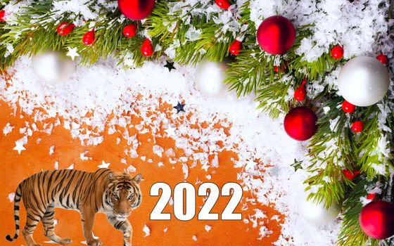 Фото бесплатно новый год, тигр, украшения