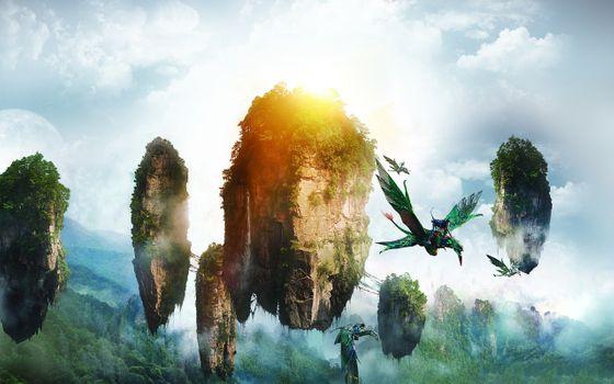 Бесплатные фото Аватар,Нейтири,плавающий остров,полет