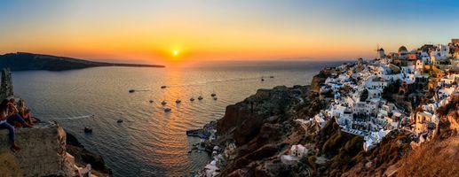 Бесплатные фото Греция,остров,Санторин,Санторини,Средиземное море,океан,панорама