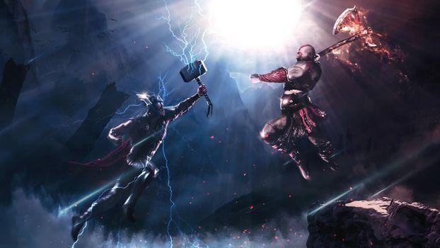 Заставки Кратос vs Тор, бой, кроссовер
