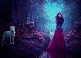 Бесплатные фото мистический лес,девушка,волки,фэнтези