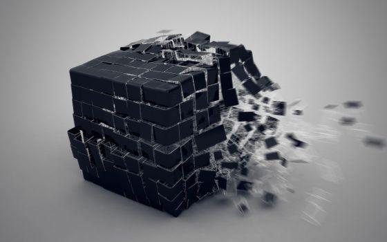 Photo free cube, splash, 3d