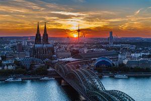 Бесплатные фото Кёльнский собор,Кёльн,Германия,город,закат,сумерки,мост