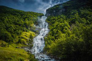 Фото бесплатно Норвегия, водопад, гора