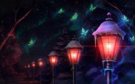 Фото бесплатно бабочки, фонарь, ночь