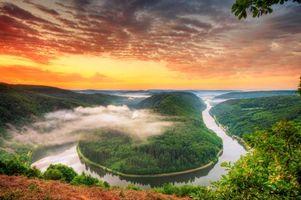 Бесплатные фото Петля Саар,Германия,река,закат,пейзаж,Петля реки Саар в Метлахе