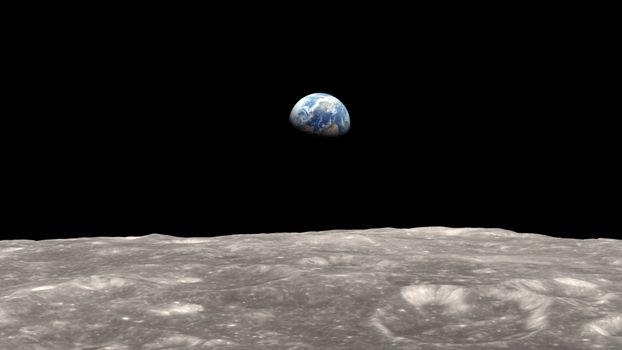 Пример как выглядит Земля с поверхности Луны