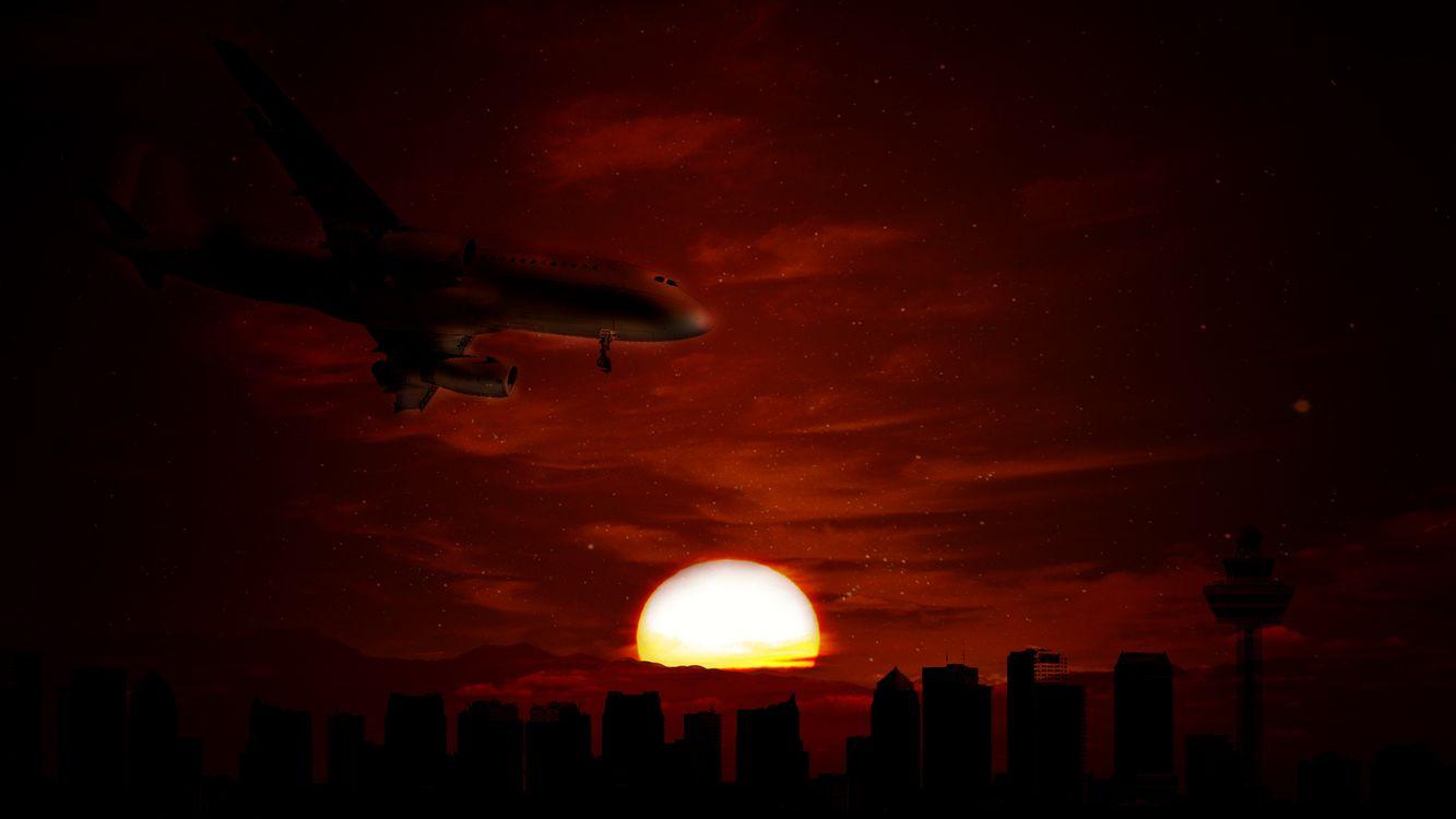 Фото бесплатно панорама, закат, Photoshop - на рабочий стол