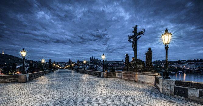 Фото бесплатно панорама, Prague, фонари