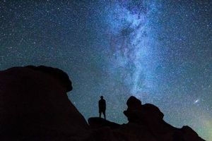 Photo free starry sky, silhouette, night