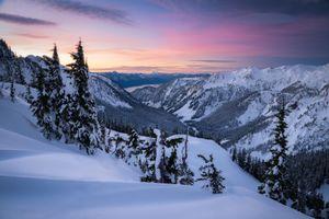 Бесплатные фото Тихоокеанский Северо-Запад,восход солнца,Вашингтон,горы,зима,снег,деревья