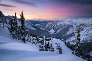 Заставки Тихоокеанский Северо-Запад,восход солнца,Вашингтон,горы,зима,снег,деревья