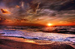 Фото бесплатно закат солнца, море, волны