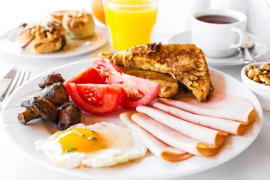 Фото бесплатно грибы, помидоры, завтрак