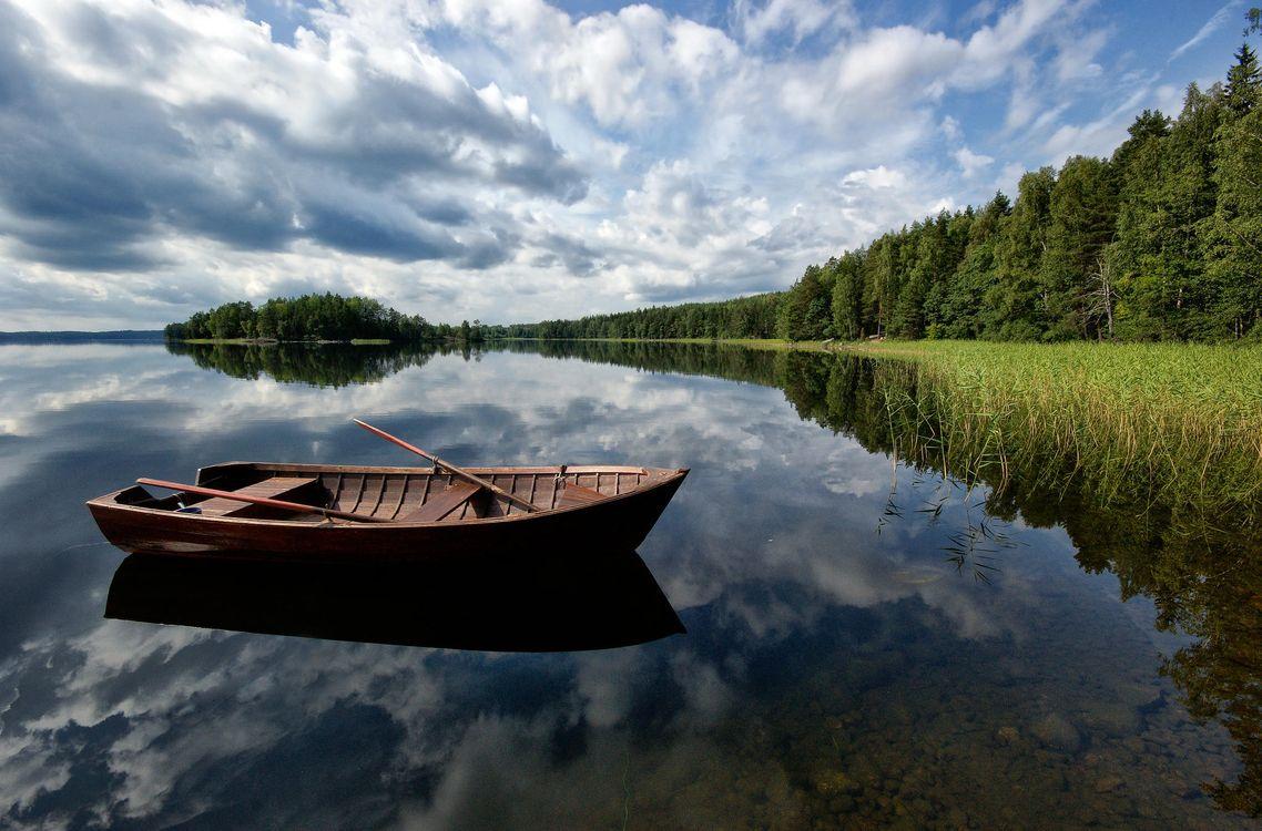 Фото бесплатно река, лодка, деревья, природа, пейзаж, пейзажи