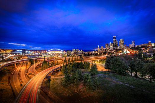 Фото бесплатно город, ночь, Seattle
